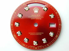 Rolex Mens Day-Date Yellow Gold Red Candy Color Dial with 10 Round Diamond