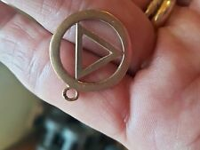 Large 9ct Gold Alcoholics Anonymous Pendant Charm 20mm