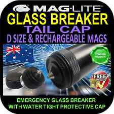 MAGLITE FLASHLIGHT TORCH TAIL CAP UPGRADE GLASS BREAKER D SIZE & 6V RECHARGEABLE