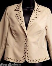 *METRO 7* STUDDED BLAZER JACKET, WESTERN LOOK, BEIGE, SIZE 8, NEW WITHOUT TAGS