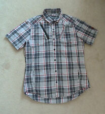 Next Red Grey Black Checked Slimmer Fit Short Sleeved Cotton Shirt Size M VGC
