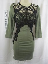 NWT BEBE LACE APPLIQUE DRESS sz S Mesmerizing dress detailed with beautiful ...