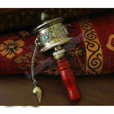 10# Tibetan Buddhist 6Mantra 8Cimelia Imitation Copper Prayer Wheel