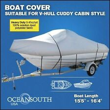 "HEAVY DUTY100%SOLUTION DYED POLYESTER V-HULL CUDDY CABIN BOAT COVER 15'5""-16'4"""