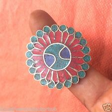 ETNIC 925 TIBETAN SILVER PLATED CORAL-TURQUOISE RING ANTIQUE JEWELRY CH76