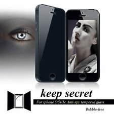 TOP Black Anti-Spy Privacy Tempered Glass Screen Protector Film For iPhone 5 5S