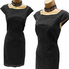 Karen Millen Black Cotton Embroidered Cut Work Cocktail Party Wiggle Dress 16 UK