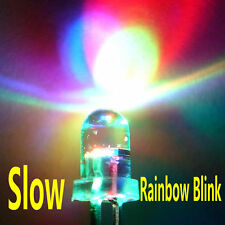 100pcs 5mm RGB (Red, Green, Blue) Slow Flash Round LED Lamps Rainbow Blink #B512