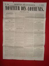 JOURNAL LE MONITEUR DES COMMUNES MINISTERE DE L'INTERIEUR N°12 - 25 MARS 1858