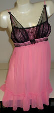 Betsey Johnson Intimate Sheer Pink/Black Lace Chemise Nightgown Women S Babydoll