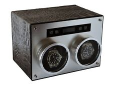 Pangaea D750 Double Metal Dual 2 Watch Winder with Cover Black Leather Box Case