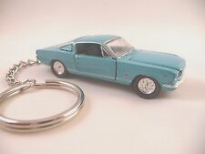 1965 Ford Mustang GT 2 + 2 Fastback Key Chain Aqua Blue '65 Mustang GT Keychain