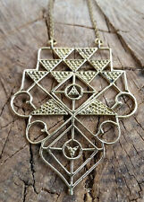 Tribal Brass Pendant Necklace Gypsy sacred geometry with chain jewellery Indian