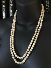 VINTAGE 14CT GOLD GENUINE JAPANESE SALTWATER PEARL DOUBLE STRAND NECKLACE - 722