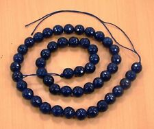 8MM FACETED BLUE SAPPHIRE ROUND SHAPE LOOSE BEADS SEMI PRECIOUS GEMSTONE(32.4g)