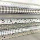 """Sewing Gray 7 Assorted Cotton Pre Cut 10"""" Squares Quilt Fabric F401"""