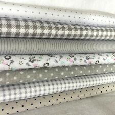 "Gray 7 Assorted Cotton Pre Cut 10"" Squares Quilt Fabric F401"