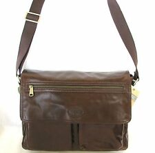 NEW FOSSIL BROWN LEATHER TRANSIT EW WORK BRIEFCASE,CROSS BODY+MESSENGER BAG