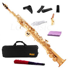 Aklot Bb Soprano Saxophone Sax Gold Lacquered Brass Body with Cleaning Kit Case