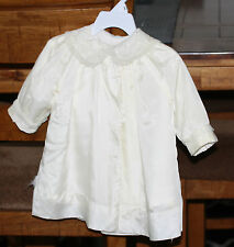 ANTIQUE IVORY CHILD'S SILK COAT CHRISTENING EMBROIDERY RUFFLES LINED SNAPS L