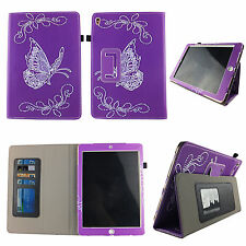 PURPLY BUTTERFLY FOLIO CASE IPAD 2/3/4 SLIM FIT POCKET TABLET STAND COVER