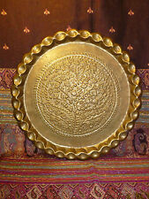 """Vintage Middle Eastern Moroccan Brass Chased Tray Fluted Edges 16"""" Table Top"""