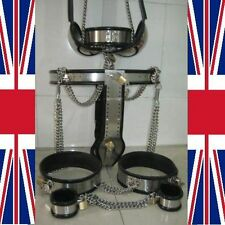 Full Male Chastity Belt Device cage thigh bands collar, ankelts & bra 65-110cms