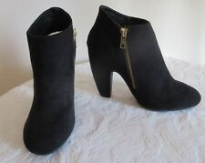 NEW w/ BOX MOSSIMO BLACK FAUX SUEDE ANKLE BOOTS!  Zipper on Inside! Rubber Sole