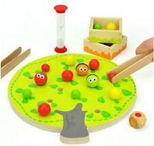 Wood toy gift Montessori Early Learning fruit tree clip balls hand-eye game Q