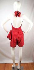 Vtg MOSCHINO Pret-a-Porter Red & Black Polka Dot Halter Top Shorts Romper Est. S