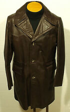 vintage 1970's men's leather jacket coat fight club rocker pimp size 42