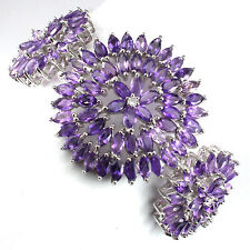 GORGEOUS NATURAL GEM PURPLE URUGUAY AMETHYST-WHITE TOPAZ 925 SILVER BRACELET 7