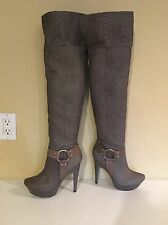 Jessica Simpson Zera OTK Taupe Grey Leather Snake Platform Boot 7.5 Rare!