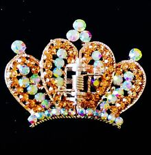 USA HAIR CLAW Clip Rhinestone Crystal Hairpin Medium Gold Crown Brown