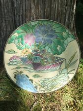 Cloisonné Loons On The Lake Chinese Plate 10 Inch Diameter ANTIQUE Charger