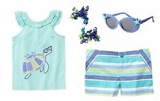 Gymboree 4T Set Tide Pool Turtle y Glam Tank Top Pattern Striped Shorts NWT