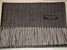 100% Cashmere Scarf Warm 72X12 Black Grey Tweed Herringbone Scotland Plaid Women