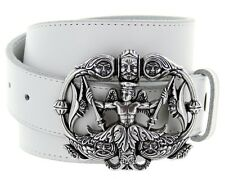Neptune Made in Italy Silver Buckle with Genuine Leather Casual Belt Strap