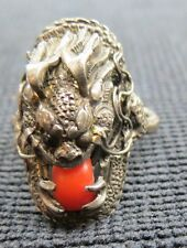 ANTIQUE STERLING DRAGON RING WITH CORAL STONE 9.6 GRAMS*
