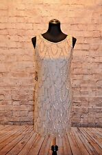 Modcloth Roaring Reception Dress champagne NWT 10  $180 Beaded Gatsby scalloped