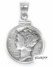 Mercury Dime Sterling Silver Coin Edge Pendant  COIN INCLUDED