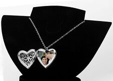 Vintage Heart Shaped LOCKET Pendant Necklace Silver Plated Long Chain Gift