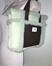 UGG Light Blue Sheepskin / Brown Trim Tote Bag