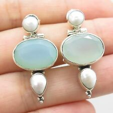 925 Sterling Silver Natural Blue Chalcedony Gemstone Drop Earrings
