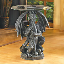 Accent Plus Medieval Dragon Table Decorative Glass Top Accent Furniture