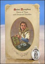 St Dymphna (Emotional Disorders) Healing Holy Card with Medal NEW SKU MC022