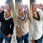 New Womens V-Neck Long Sleeve Hoodie Sweater Womens Jumper Pullover Blouse Tops