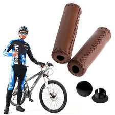 Stitched Leather MTB BMX Road Mountain Cycling Bike Bicycle Handlebar End Grips