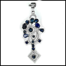 GENUINE BLUE SAPPHIRE MIXED SHAPE & WHITE CZ STERLING 925 SILVER PENDANT