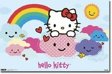 HELLO KITTY RAINBOW CLOUDS POSTER PRINT NEW 22x34 FREE SHIPPING